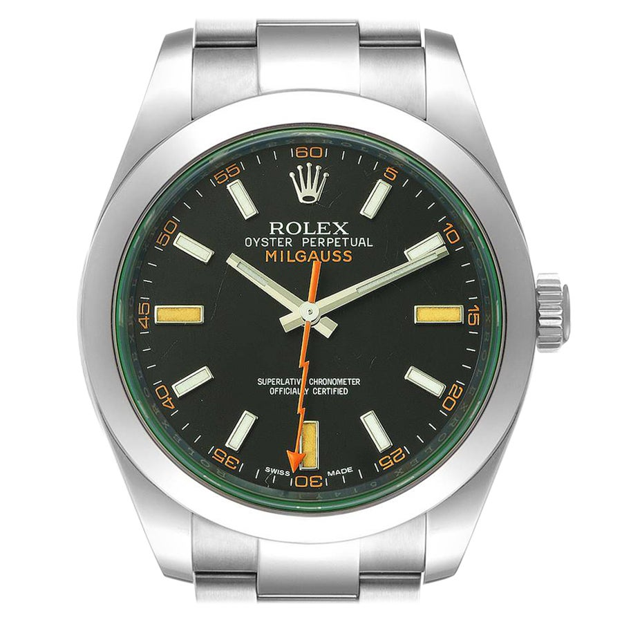 Rolex Milgauss Black Dial Green Crystal Steel Mens Watch 116400GV