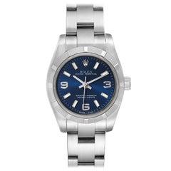 Rolex Nondate Ladies Blue Dial Oyster Bracelet Ladies Watch 176210 Box Card