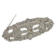 4.20 Carat Diamond 1920's Ornate Brooch in Platinum