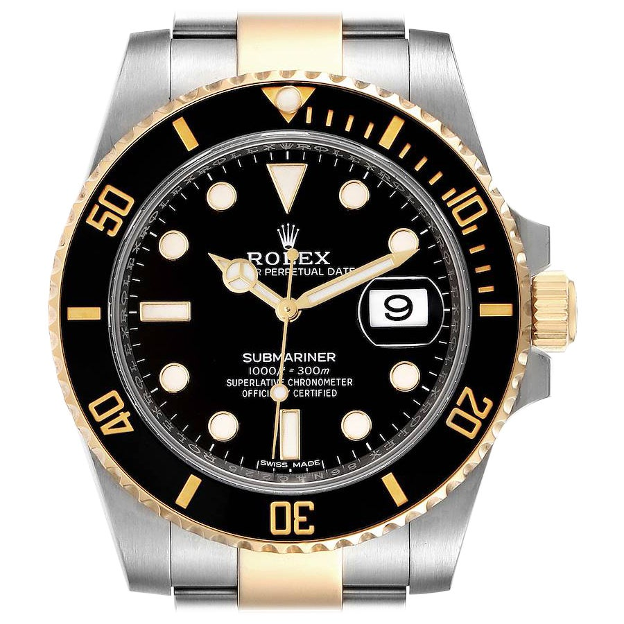 Rolex Submariner Steel Yellow Gold Black Dial Mens Watch 116613 Box Card