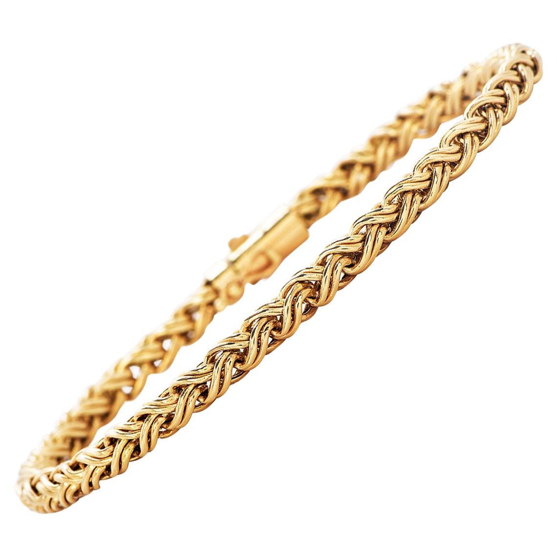 Tiffany & Co. 14K Gold Designer Braided Links Bracelet