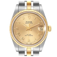 Tudor Prince Date Steel Yellow Gold Champagne Dial Mens Watch 72033 Unworn