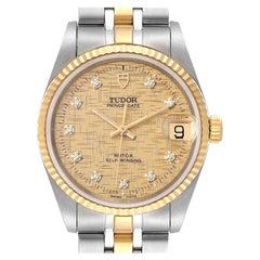 Tudor Prince Date Steel Yellow Gold Diamond Mens Watch 72033 Unworn