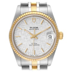 Tudor Prince Date Steel Yellow Gold Silver Dial Mens Watch 72033 Unworn