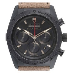 Tudor Fastrider Black Shield Alcantara Strap Mens Watch 42000CN Box Card