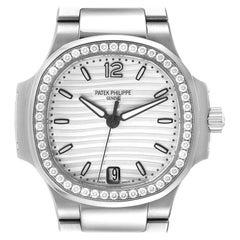 Patek Philippe Nautilus Silver Dial Diamond Steel Ladies Watch 7118 Box Papers