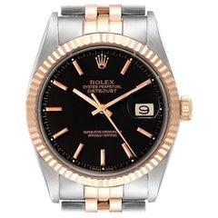 Rolex Datejust Steel Rose Gold Black Dial Vintage Mens Watch 1601