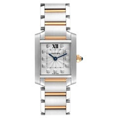 Cartier Tank Francaise Steel Rose Gold Diamond Ladies Watch WE110004 Box Card