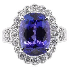 6.96 Carat Natural Tanzanite and Diamond Edwardian Inspired Ring Set in Platinum