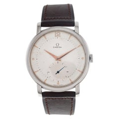 Omega Wrist Watch Oversize Ref. 2544-2 in Stainless Steel Two White Tone Dial