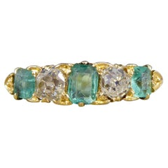 Antique Late Victorian Emerald and Diamond Five Stone Ring Modelled in 18ct Gold