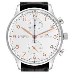IWC Portuguese Chronograph Silver Dial Steel Mens Watch IW371401 Box Card