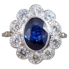 2.07ct Sapphire and 0.95ct Total Diamond Cluster Ring in Platinum
