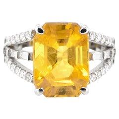 GIA Certified 9.78 Carat Natural Yellow Sapphire & Diamond Ring Set in Platinum
