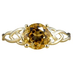 Contemporary Citrine Single Stone Ring with Detailed Shoulders 9ct Yellow Gold