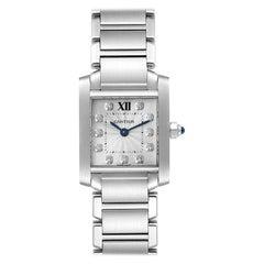Cartier Tank Francaise Steel Diamond Small Ladies Watch WE110006 Box Card