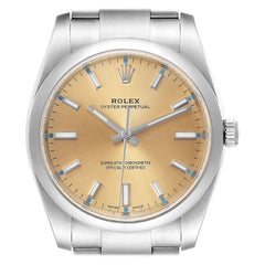 Rolex Oyster Perpetual White Grape Dial Steel Mens Watch 114200