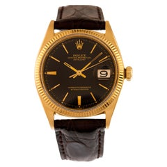 Rolex Watch Oyster Perpetual Date Just Black Dial Ref. 1601 in 18kt Yellow Gold