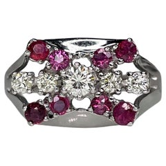Art Deco Style 14K White Gold 0.56ct Ruby Diamond Bow Ring