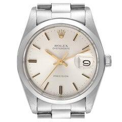 Rolex Oysterdate Precision Silver Dial Steel Vintage Mens Watch 6694