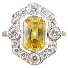 Art Deco Style 1.25ct Yellow Sapphire and Diamond Halo Ring in Platinum