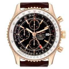 Breitling Navitimer World 18K Rose Gold Black Dial LE Watch H24322 Box Papers