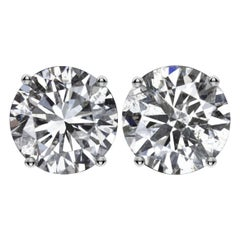 3.21 Excellent Cut Natural Round Diamond Stud Earrings