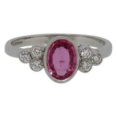 18 Karat Oval Pink Sapphire and Diamond Ring Yellow & White Gold