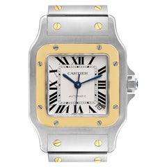 Cartier Santos Galbee XL Steel Yellow Gold Mens Watch W20099C4 Box Papers