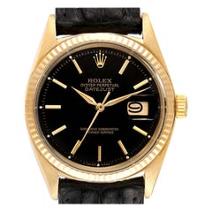 Rolex President Datejust 18k Yellow Gold Black Dial Vintage Mens Watch 1601