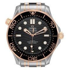 Omega Seamaster Steel Rose Gold Mens Watch 210.20.42.20.01.001 Box Card
