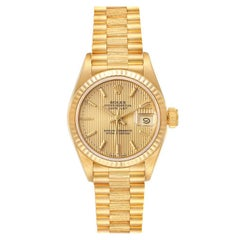 Rolex President Datejust 18K Yellow Gold Tapestry Dial Ladies Watch 69178
