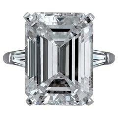 Exceptional Internally Flawless GIA 10 Carat Emerald Cut Diamond Ring