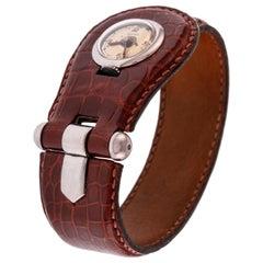 Hermès Pour Le Sport Ladies Wrist Watch in Steel with Crocodile Skin Bracelet