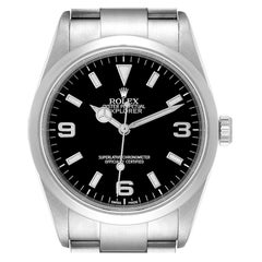 Rolex Explorer I Black Dial Stainless Steel Mens Watch 114270 Box Papers