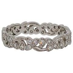 Diamond Floral Eternity Wedding Band Ring 18 Karat White Gold