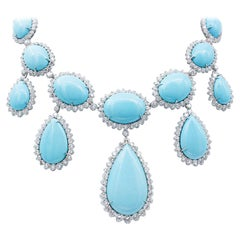 Made in Italy Rare Turquoise Drop Set Necklace, Diamonds, 18kt White Gold