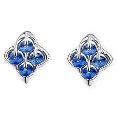 Moiseikin 18K White Gold Sapphire Stud Earrings Gift Promotion