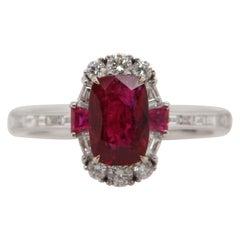 GRS Certified Burmese No Heat 1.56 Carat 'Pigeon Blood' Ruby and Diamond Ring