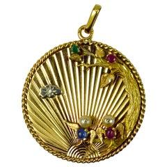 French 18K Yellow Gold Lovebirds Emerald Ruby Sapphire Diamond Pendant