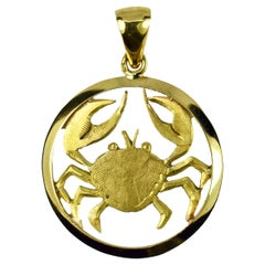 French 18K Yellow Gold Zodiac Cancer Charm Pendant
