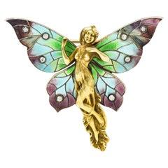 Art Nouveau Diamond Enamel 14 Karat Gold Fairy Brooch, Circa 1900