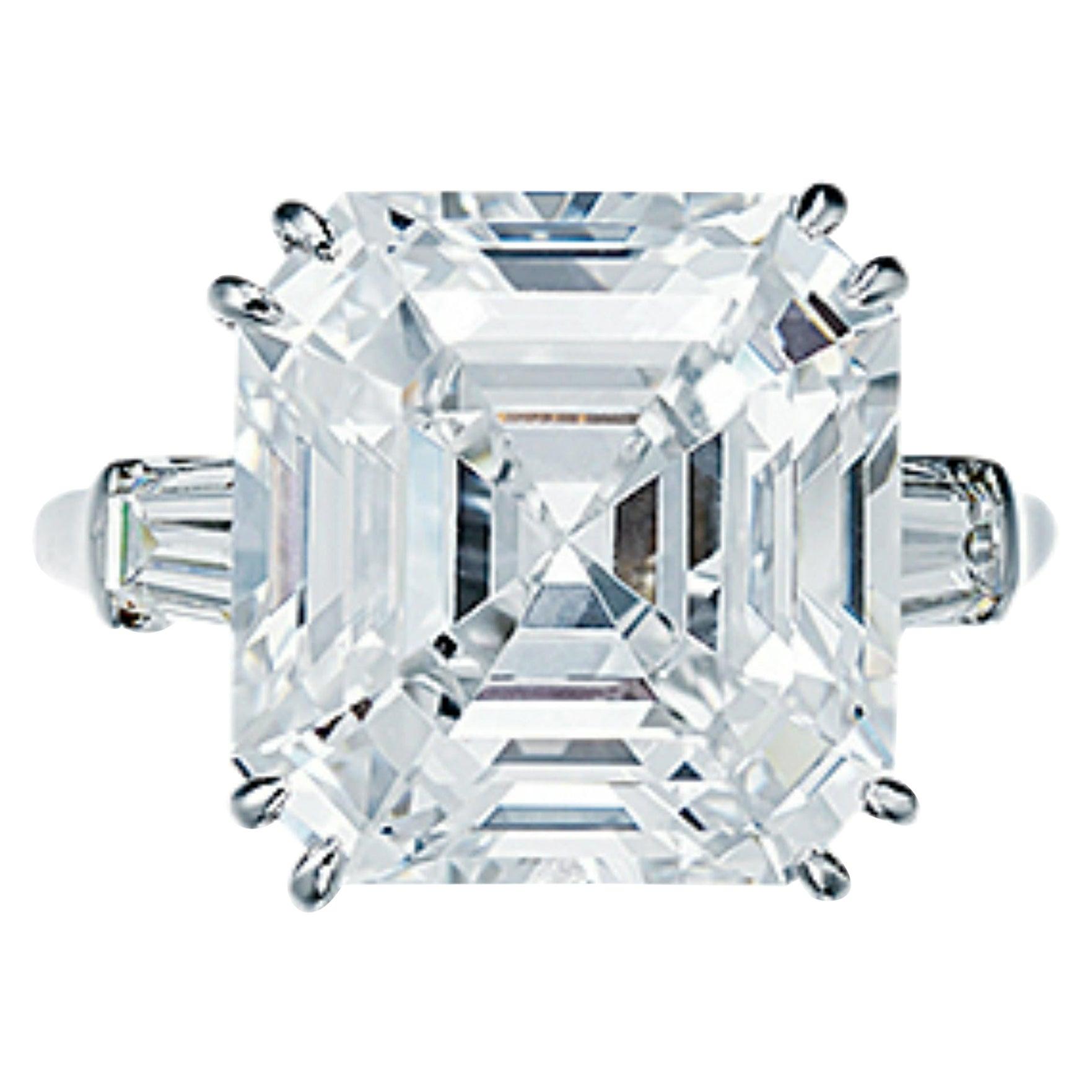 GIA Certified 3.40 Carat Asscher Cut D Color Diamond Solitaire Ring