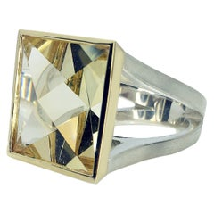 20.19 Carat Context Cut Citrine in Yellow Gold and Silver Ring
