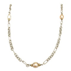 David Yurman Link Pearl Necklace in 18K Yellow Gold and Silver