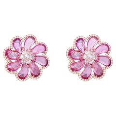18 Karat Rose Gold 20.45 Carat Pink Sapphire and Diamond Flower Stud Earrings