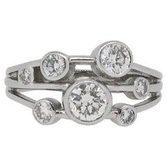 Platinum Diamond Bubble Cluster Ring