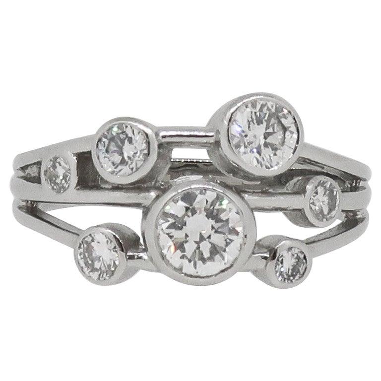Platinum Diamond Bubble Cluster Ring For Sale