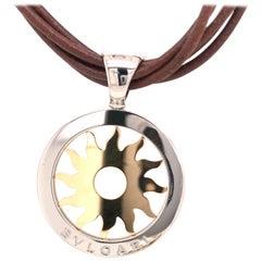 Bvlgari Tondo 18K Yellow Gold and Steel Sun Pendant Leather Cord Necklace