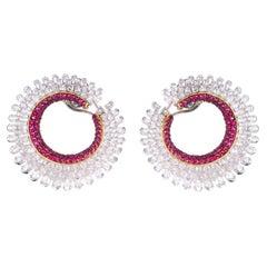 18 Karat White Gold 8.11 Carat Diamond and Ruby Cocktail Stud Hoop Earrings